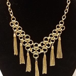 Jewelry - Gold Fringe Bib Necklace